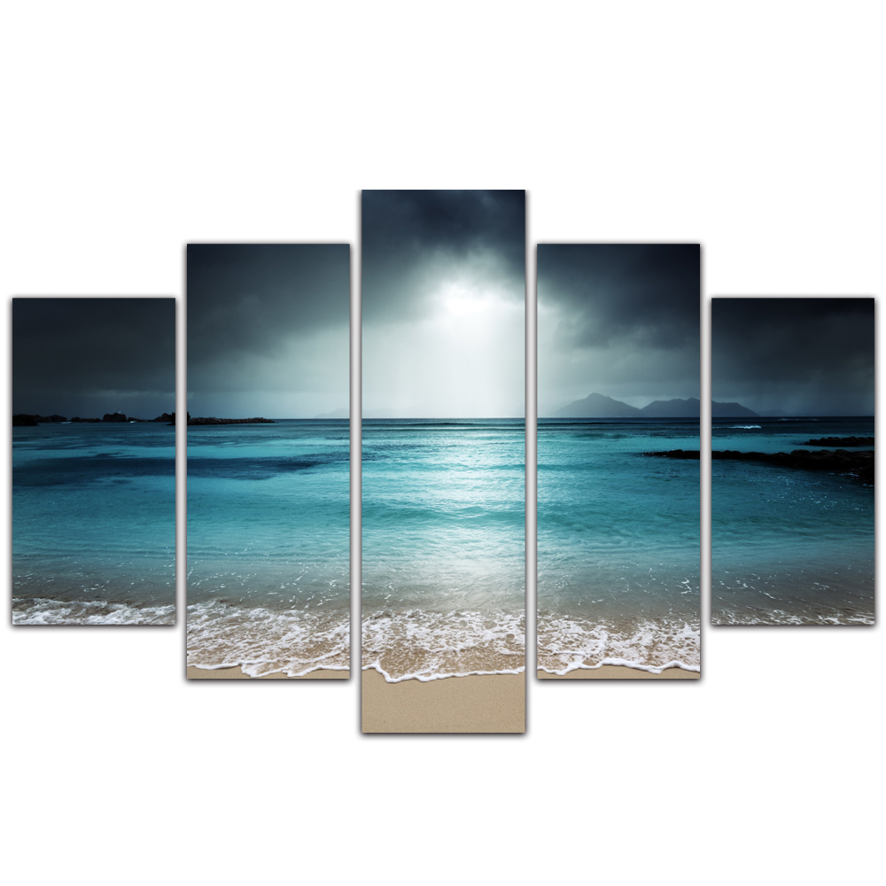 Unframed Canvas Painting Sea Level Spray Beach Dark Clouds Photo Picture Prints Wall Picture For Living Room Wall Art Decoration