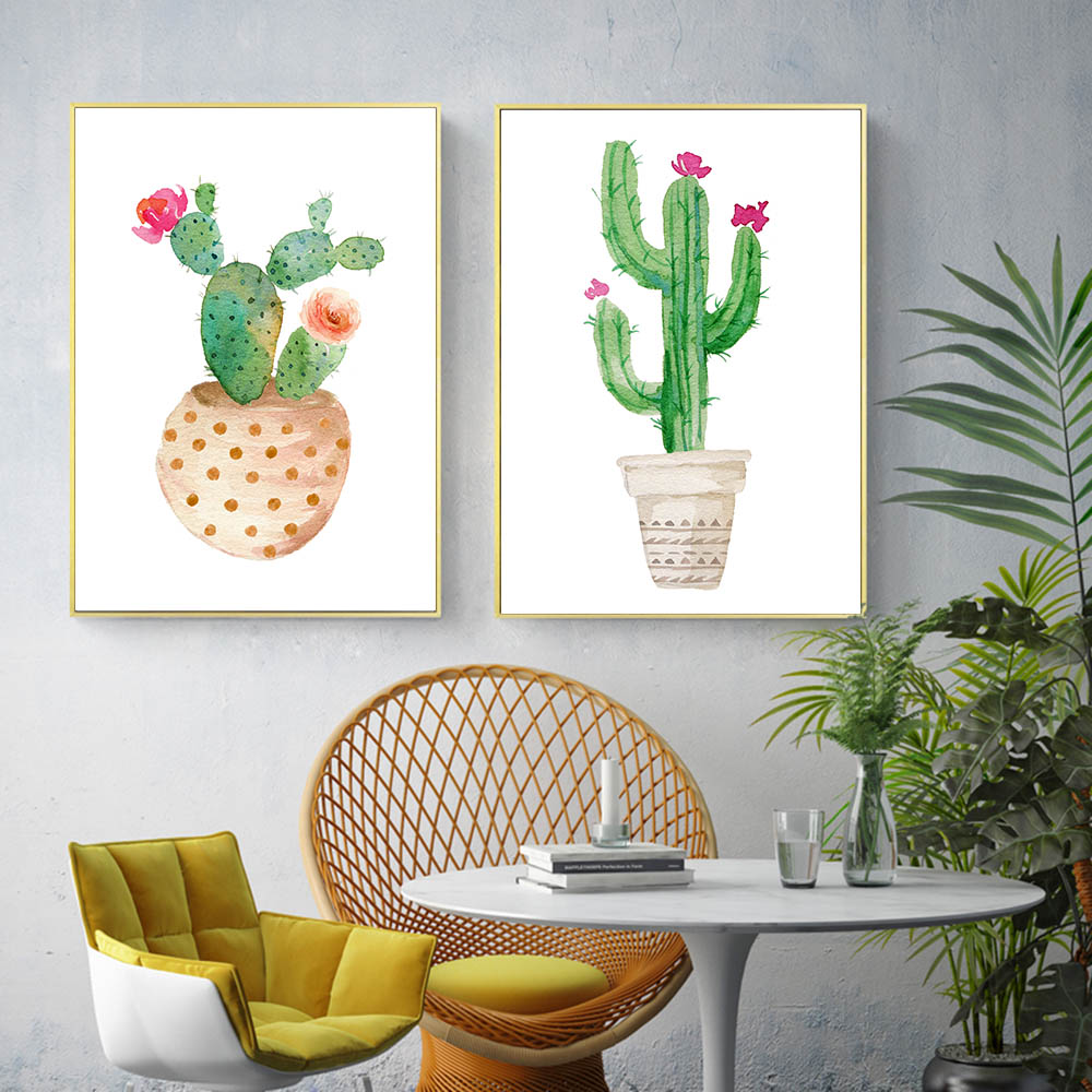Watercolor Flower Cactus Decor Canvas Nordic Posters Wall Art Canvas Prints Minimalist Painting Wall Pictures for Living Room in Painting Calligraphy from Home Garden