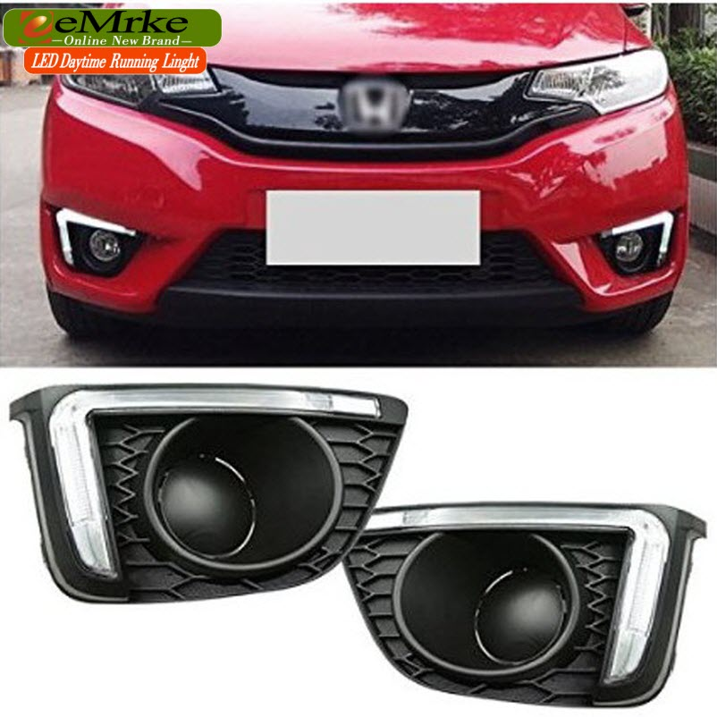 eeMrke Car LED DRL For HONDA JAZZ Fit 2014 Third Generation High Power Xenon White Fog Cover Daytime Running Lights Kits 2pcs led white yellow daytime running lights drl for honda fit jazz 2014 2015