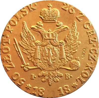 24-K Gold-plated Russian Coins 1818