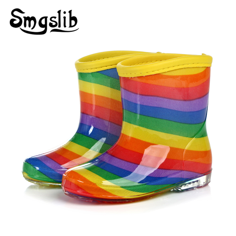 Children Rain Boys Girls Jelly Shoes Boots Rainbow Colorful Boot Toddler 2018 Spring Autumn Fashion Rubber Rainboots