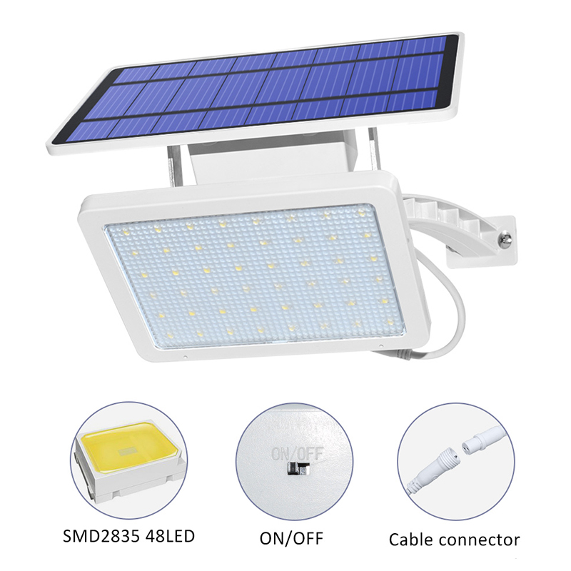 800lm Solar Outdoor Light for with 48 LED With Adjustable Lighting Angle for Garden and Yard Security 2