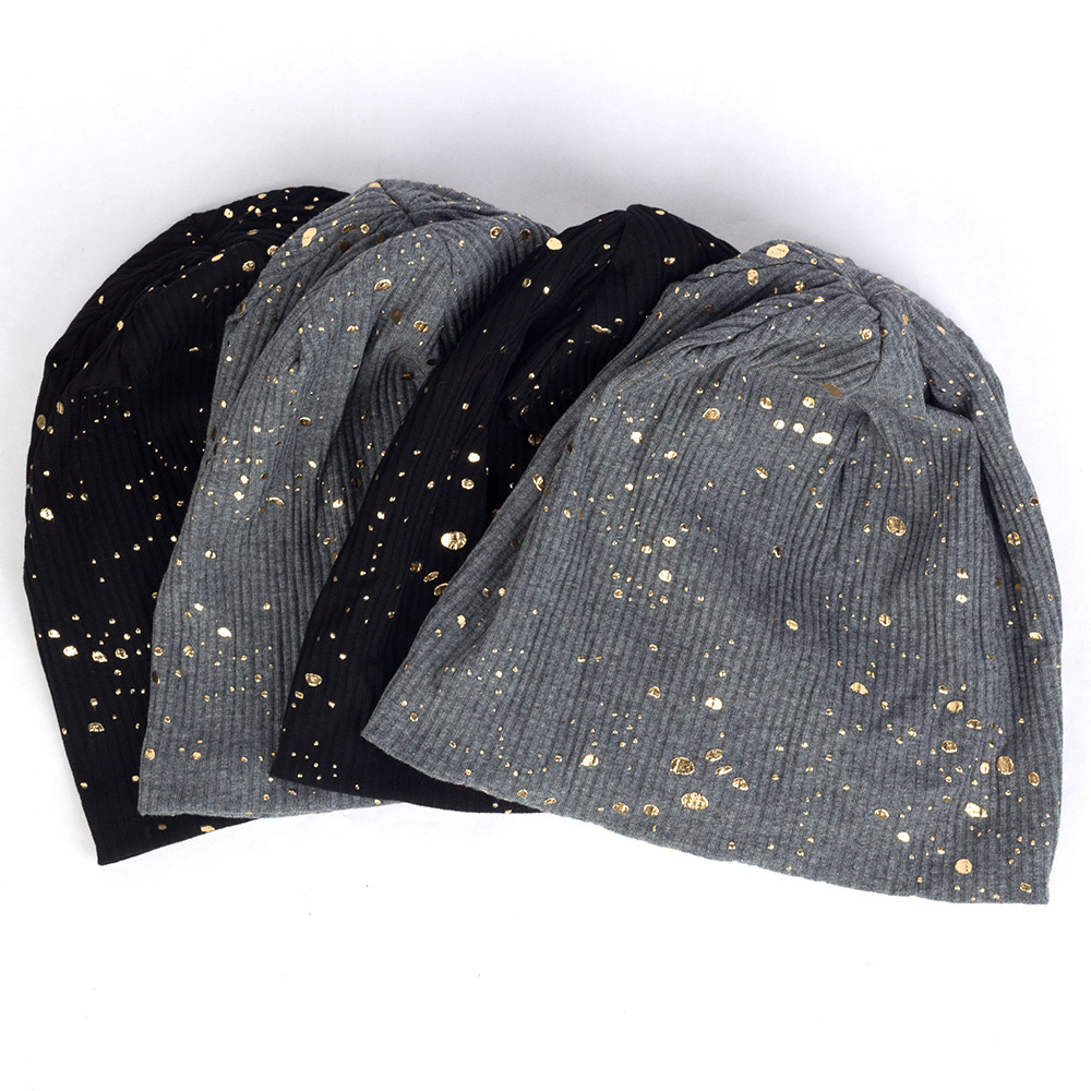 2019 Fashion Women's Splatter Paint Beanie Hat Metallic Color Ribbed Cotton Slouchy Beanies For Femme Bronzing Skullies