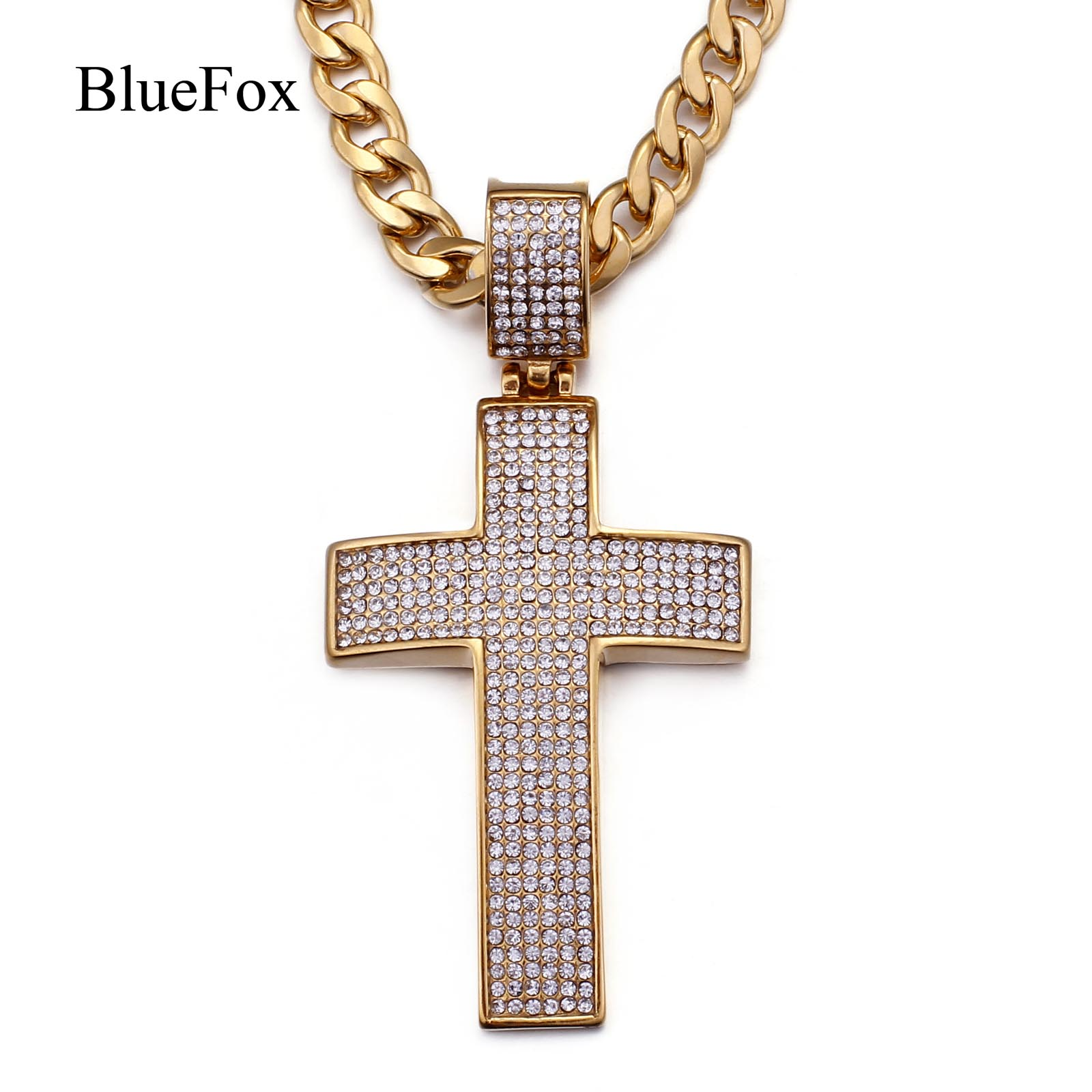 Chic Zircon Cross Pendants Necklace Women Men 316L Stainless Steel Link Chain Necklace Fashion Charms Jewelry Accessories Gift купить в Москве 2019