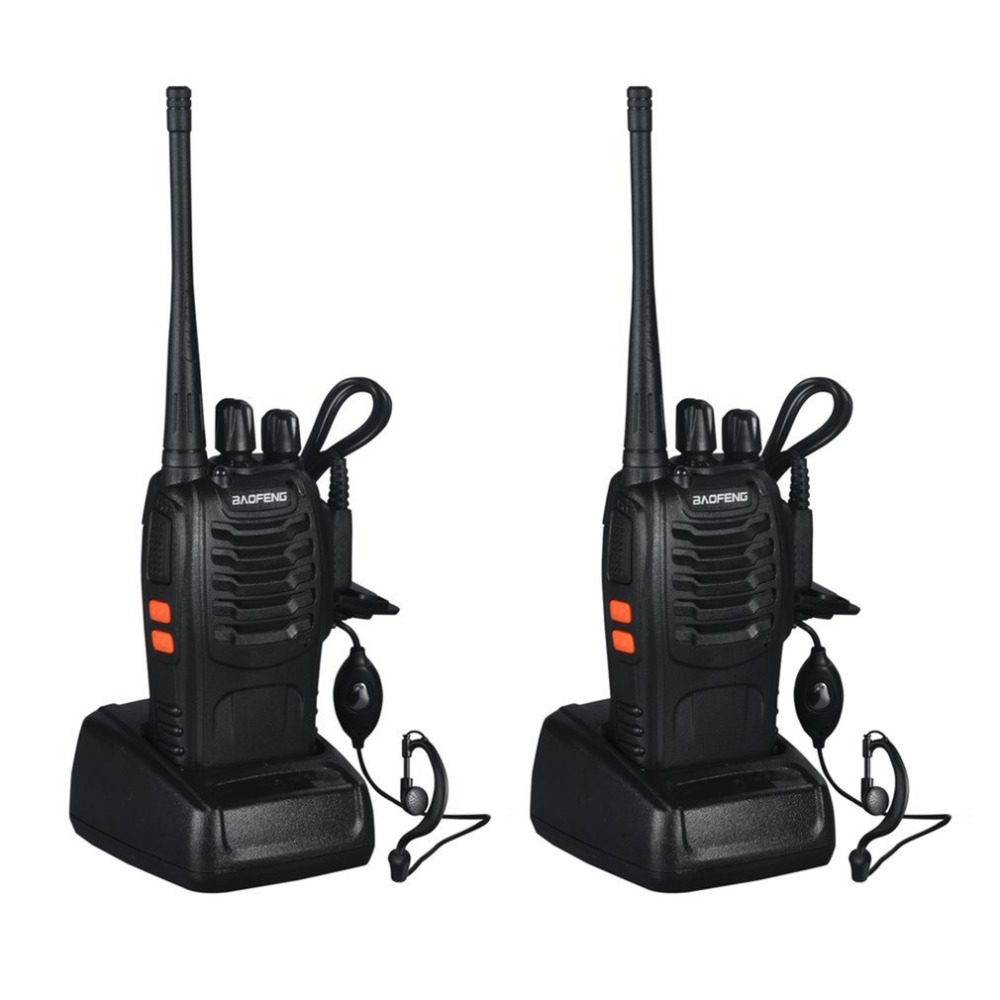 Recargable walkie-talkie profesional linterna 5 W 16Ch con auriculares 2 vías Baofeng Radio VHF/UHF FM transceptor 400-470 MHz