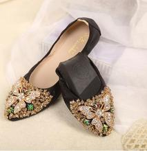 Women's shoes 2017 pointed toe rhinestone egg rolls shoes female spring and autumn flat shoes