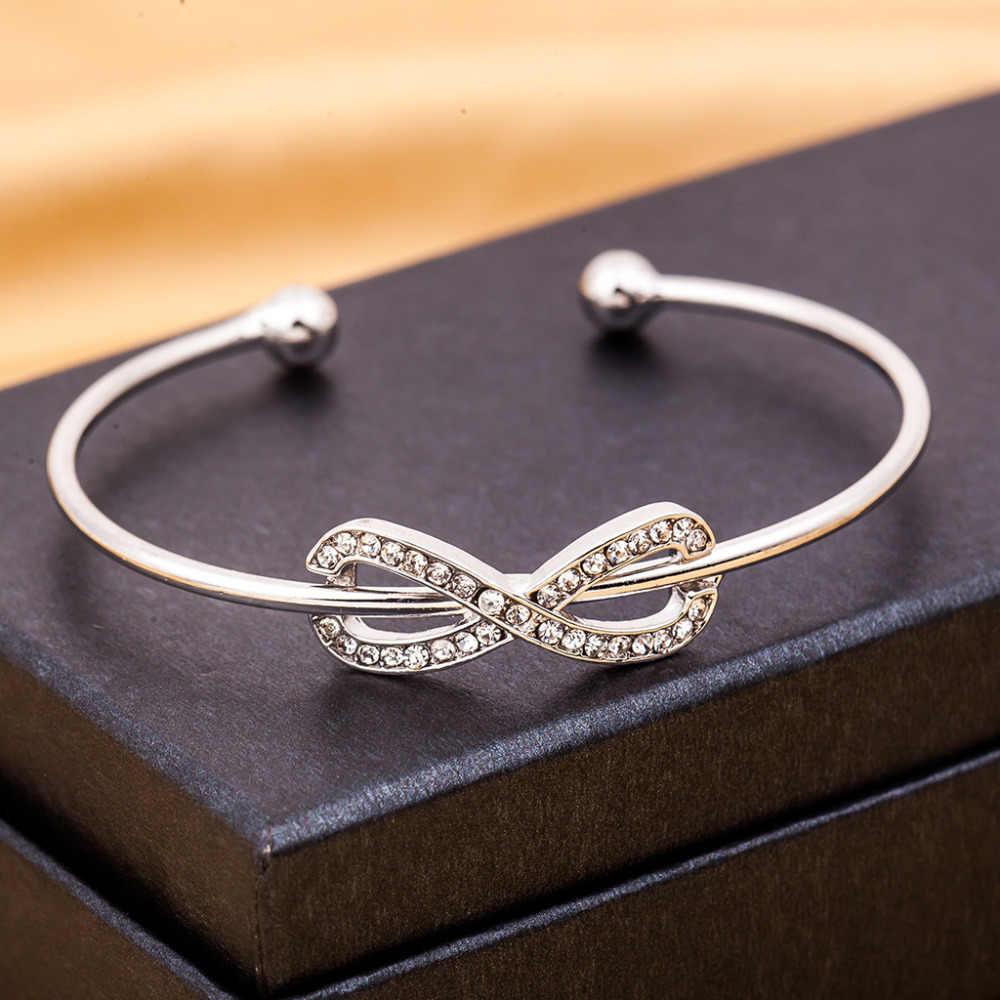 צמידי קסם אינסוף זהב תכשיטי ריינסטון מצופה כסף צמידי קריסטל קאף להרחיב אביזרי גברים נשים מתכת חלולה