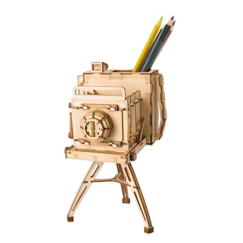 Robotime DIY 3D Wooden Vintage Camera Puzzle Game Penholder&Gift for Children Kid Friend Model Building Kits Popular Toy TG403