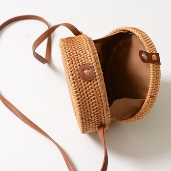 Rattan Bags for Women 2019 Hollow Out Shoulder Bag Ladies Wooden Beach Handbags Travel Cross body Strap Bag 5