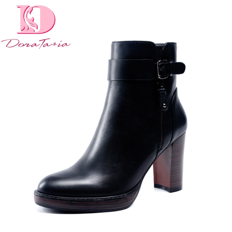 DoraTasia Brand New retro natural cow genuine leather high Heels party women Boots Shoes big size 41 Ankle Boots Shoes Woman doratasia 2018 large size 33 41 genuine leather brand shoes women sexy thin high heels ankle boots party shoes lady footwear