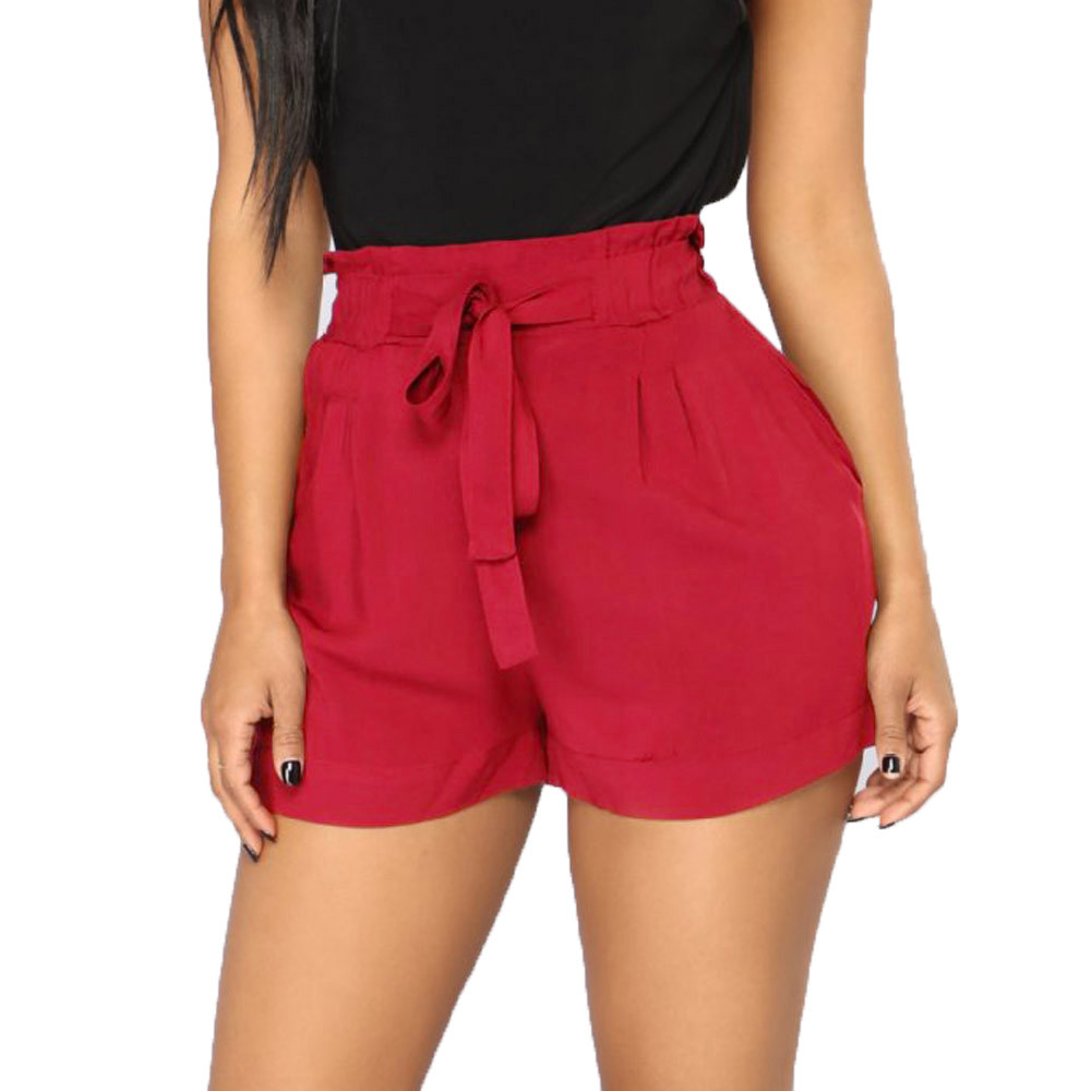 HTB1 1OTU6DpK1RjSZFrq6y78VXaP - women's shorts femme Women Retro Casual Fit Elastic Waist Pocket Shorts High Waist String shorts female joggers