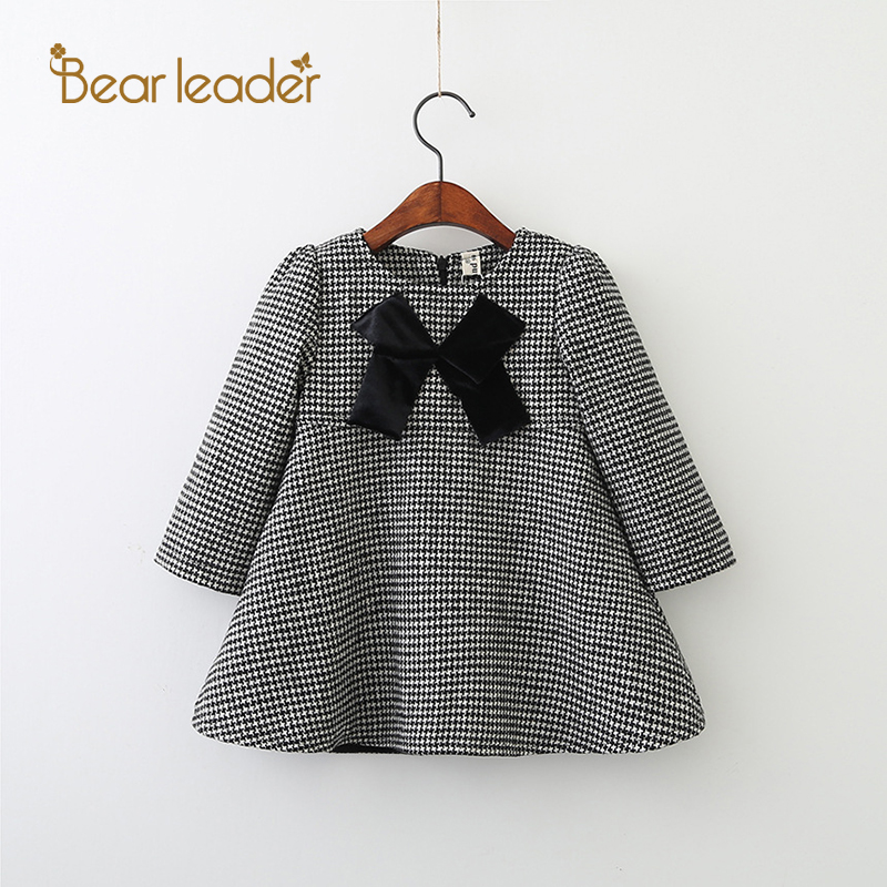 Bear Leader Girls Dress 2017 New Autumn Brand Girls Clothes White And Black Plaid Bowknot Design Baby Girls Dress For 3-7 Years new language leader elementary coursebook with myenglishlab