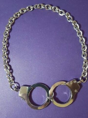 Vintage Silver Police Can Open Handcuffs Charm Necklace Choker Collar Statement Necklace ...