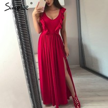 Simplee Sexy pleated red long women dress Ruffles O neck split maxi summer dress 2019 Elegant female club vestidos de fiesta(China)