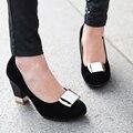 New elegant women pumps thick heel shoes fashion wedding heels ladies shoes high heels blue bride shoes woman red black pumps