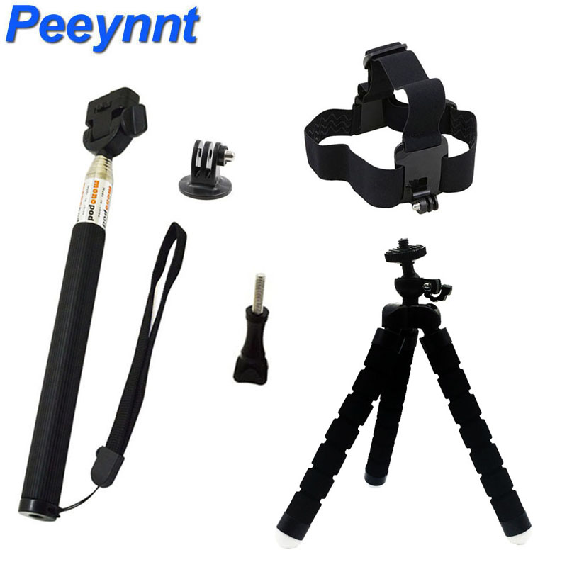 Accessories Set for Gopro Hero 6 mini Tripod Selfie Stick Monopod Mount for Go pro 5 4 3 for Xiaomi Yi 4K SJCAM SJ4000 EKEN H9
