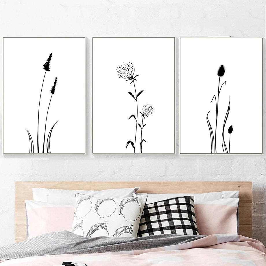 Abstract Black And White Reed Grass Canvas Painting Nordic Style