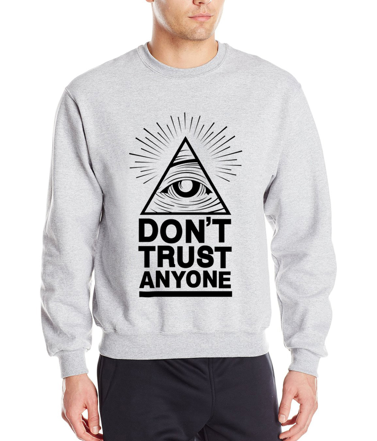 Dont Trust Anyone all seeing eye letters 2019 spring winter fashion men sweatshirts streetwear hoodies tracksuit brand clothing