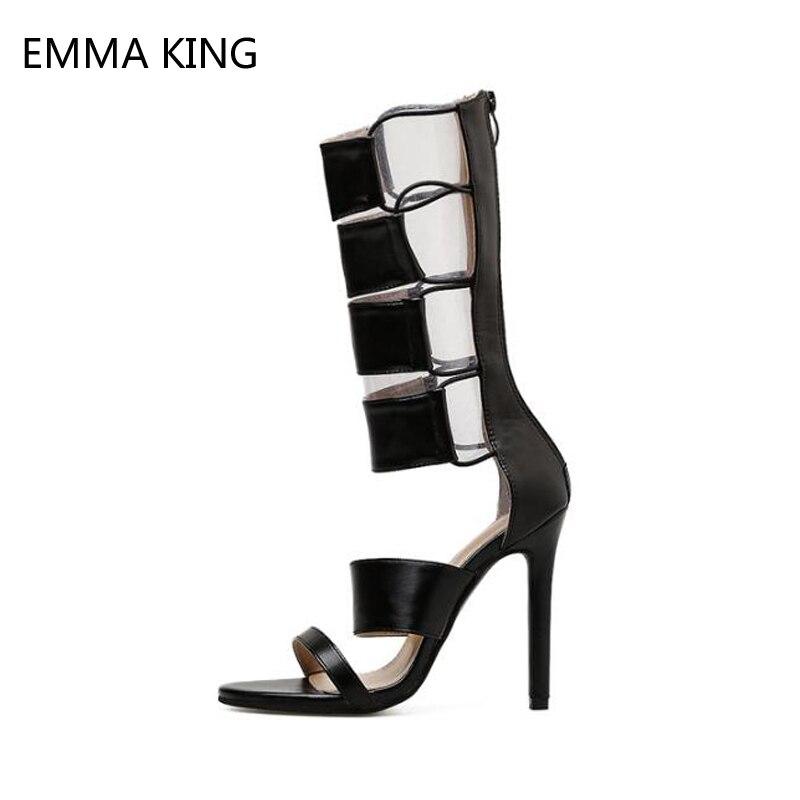 D'été Designer Chaussures 10 Talons De As Spartiates Femmes Mode Femme Botas Dames Picture Cuir Mi Hauts Bottes Cm mollet Sandales En 12 4Sqgg