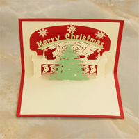 Free Shipping 3D Xmas Greeting Card Merry Christmas Party Invitation Cards Pop Up Snowflake Tree Laser
