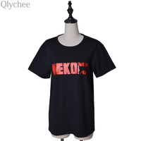 Hot Anime Haikyuu Black T Shirt Nekoma Karasuno High School Big Logo Print Cosplay T Shirt