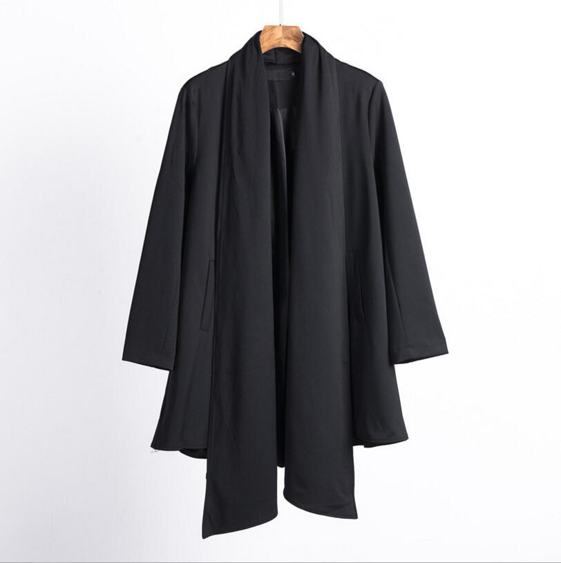 Styliste 2018 Hommes Nouveau Outwear Bigbang Grand Manteau Moyen Costumes Long Noir Mode Revers Personnalité De Trench Dj Chanteur Costume Cheveux Et Bp84p