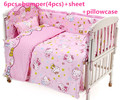 Promotion! 6PCS Hello Kitty Bedding Sets Newborn,Duvet Cover, 100% cotton Baby Bedding kit crib Set,120*60/120*70cm
