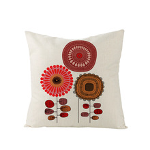 Casual Flax Embrace Linen Pillow Case Cushion Cover Flower Print Sofa Back Automobile Decorative Pillows