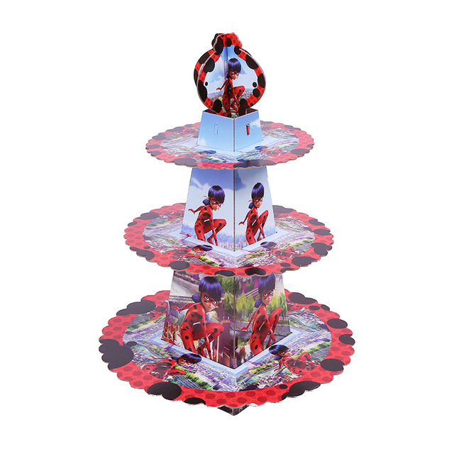 1pc 3 tier miraculous ladybug cat cake stand cupcake holder holder