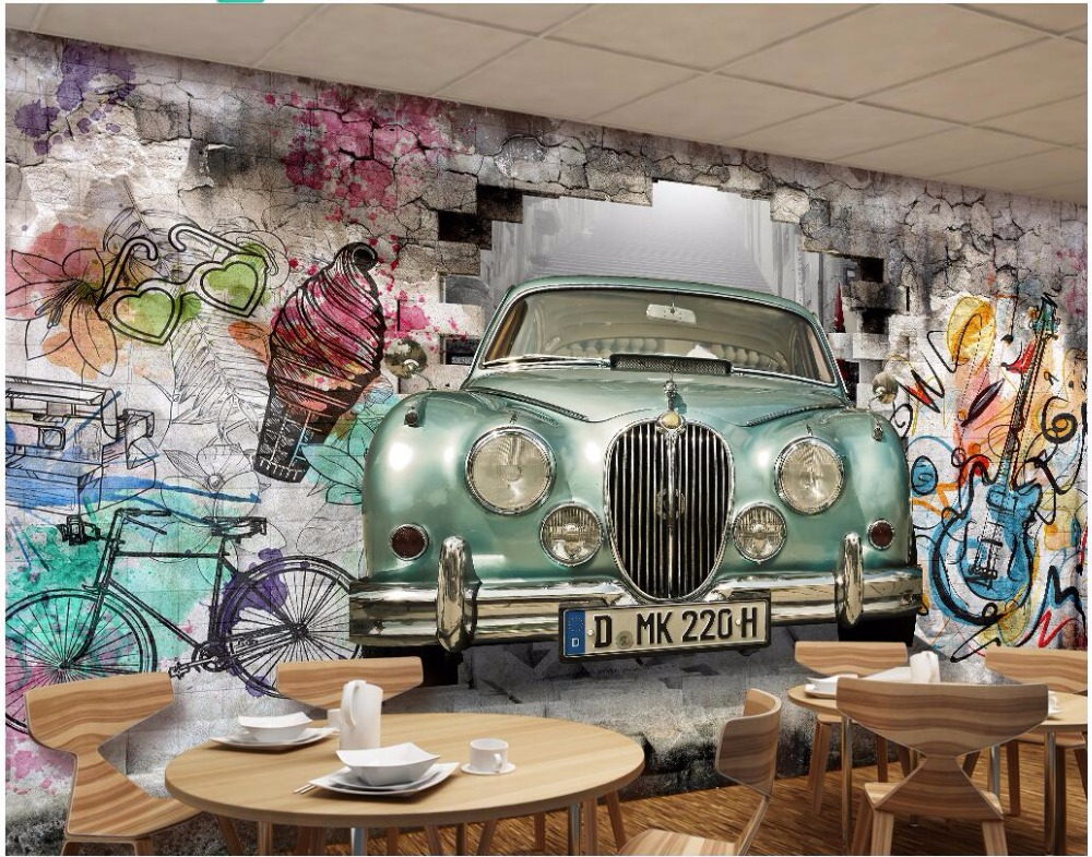 Custom mural 3d photo wallpaper Vintage car hand painted graffiti wall painting 3d wall murals wallpaper for walls 3 d custom 3d mural wallpaper street art graffiti cartoon hand painted brick wall background decor wall painting non woven wallpaper