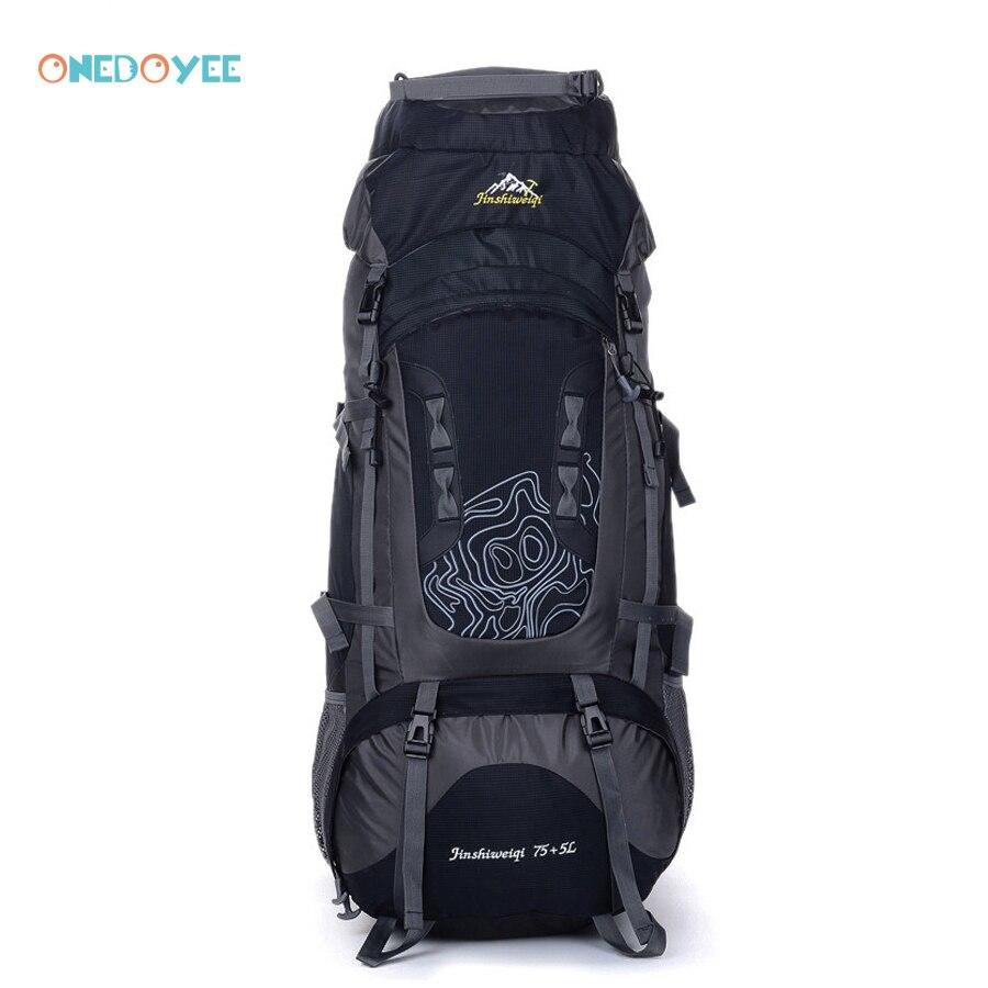 Onedoyee 80L Professional Trekking Backpacks Big Outdoor Sports Bag Waterproof Nylon Traveling Rucksack Camping Hiking Backpack