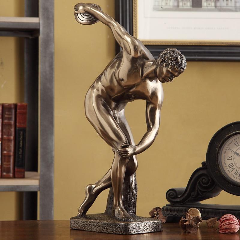 American Discobolus Athlete Statue Creative Art Craft Resin+Copper Art Sketch Teaching Bust Home Desktop Decoration Office L1762