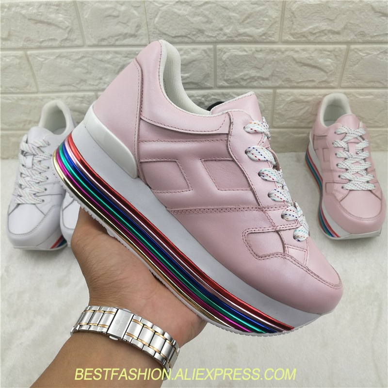 Rainbow Sole Platform Shoes Luxury Designer Women Shoes Lace Up Flat Heel Womens Shoes Sneakers Tenis Feminino Shoes Woman cloth camouflage lace up hidden heel womens sneakers