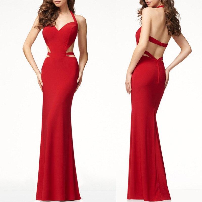 f36068585 Sin Atrás Sexy Vestido Rojo Largo 2018 Colgante Red Mujeres De Fiesta Maxi  Vestidos Cuello Mangas ...