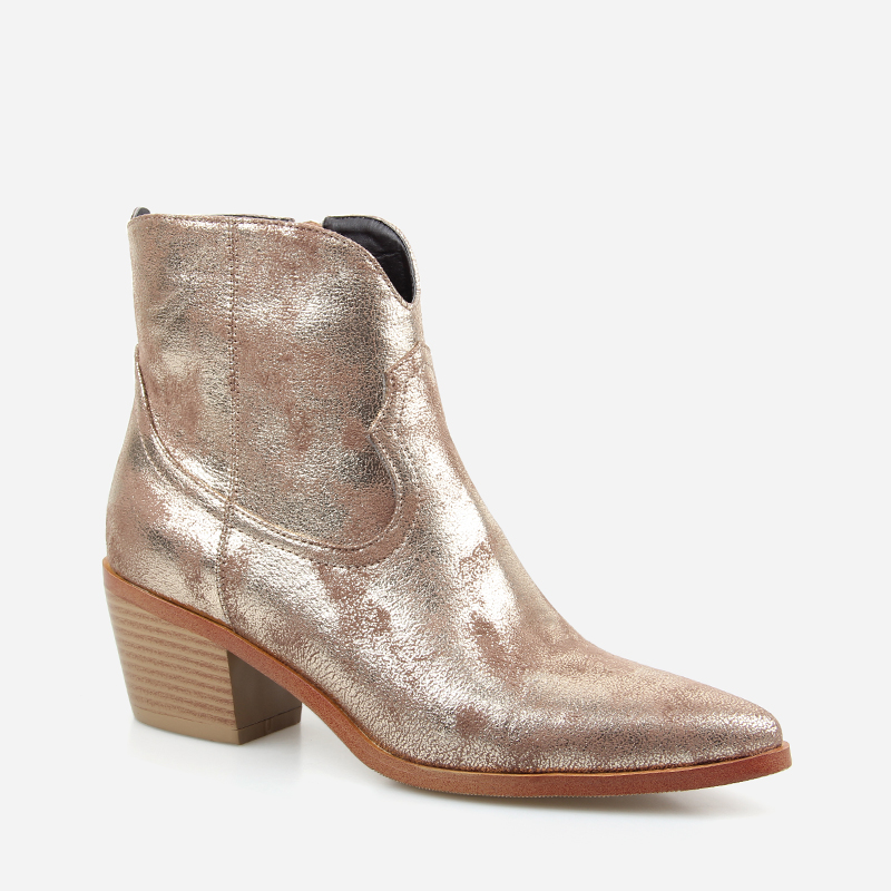 Image 2 - 2019 Spring/Autumn New Fashion Women's High heeled Retro Square heel boots Zipper Concise Pointed Toe Woman Boot Golden shoes-in Ankle Boots from Shoes