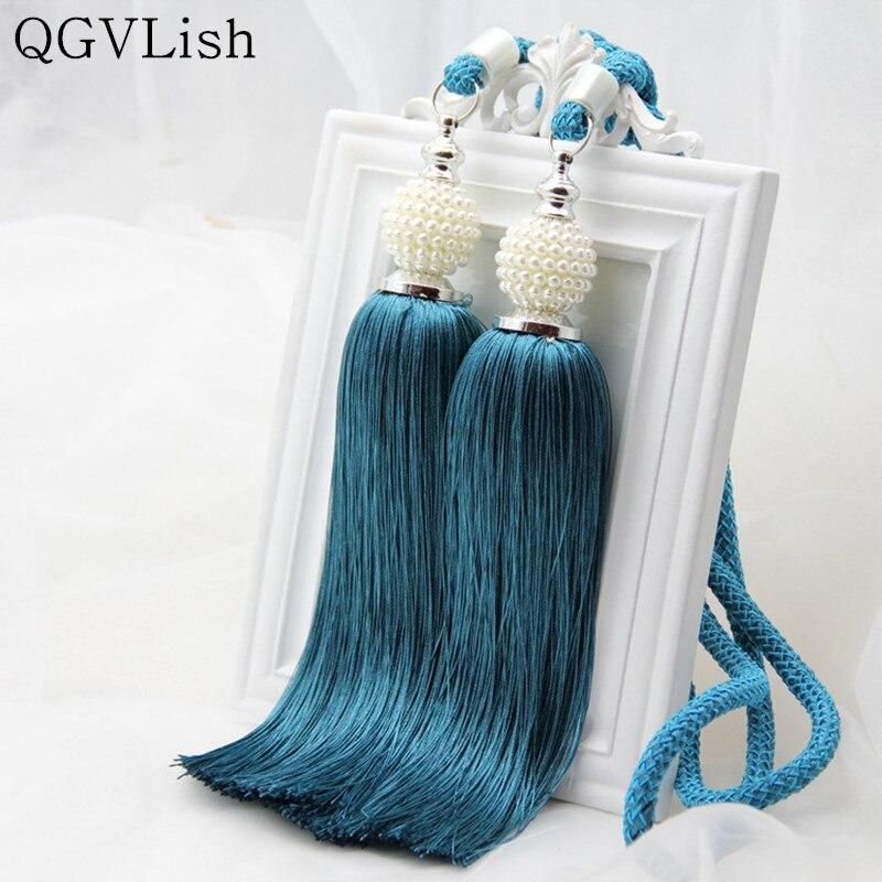 QGVLish 2Pcs Pearl Beads Curtain Tieback Hanging Belts