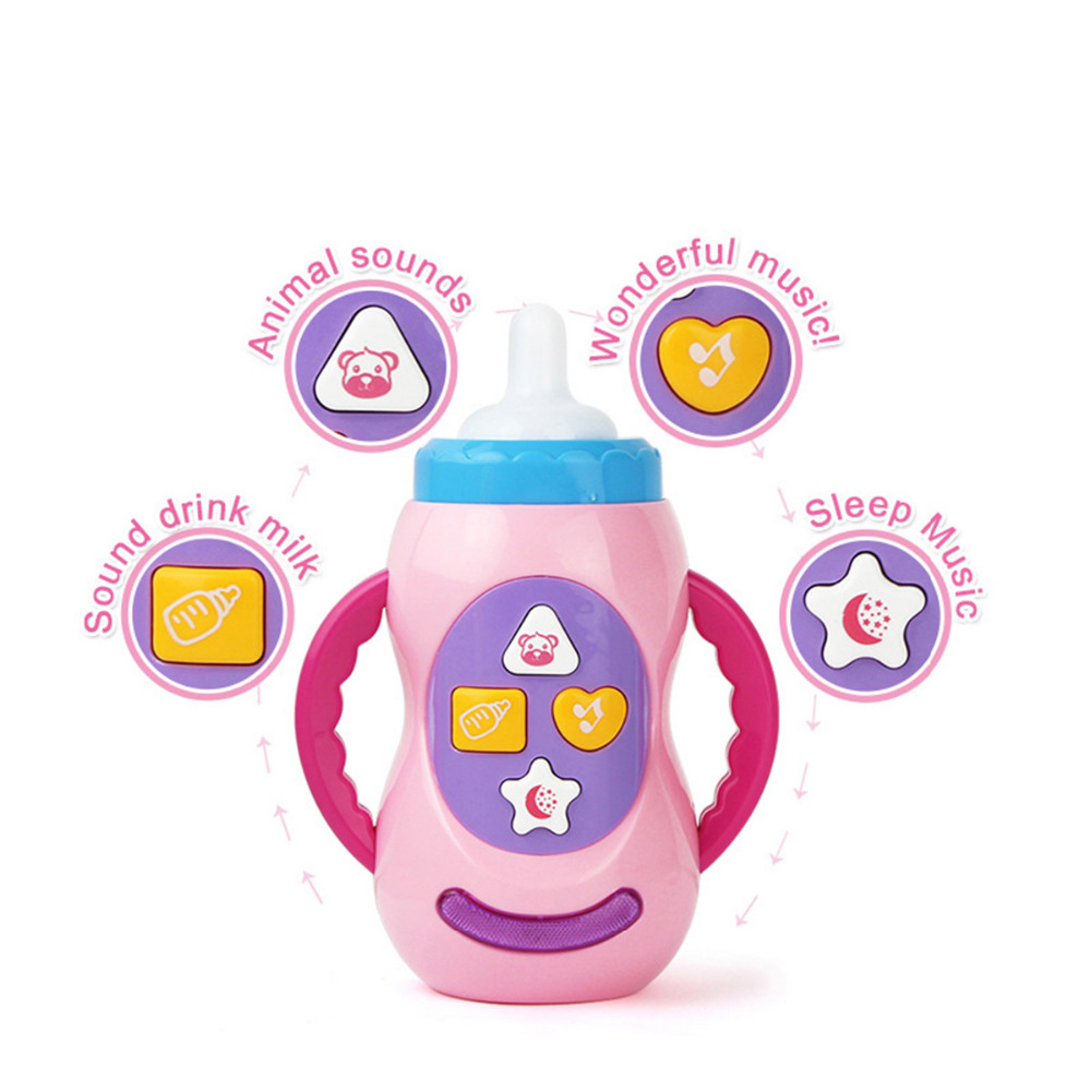 learning early educaltional toy baby toys funny milk bottle with sound and light child musical feeding bottle creative song gift