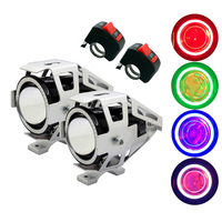 2Pcs/Set SUNKIA with Switch Silver Body CREE Chip U7 LED Headlight Motorcycles Driving Lamp Fog Light Angel Eye Ring+Devil Eye