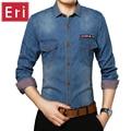 2017 Jeans Da Moda Outono Camisa de Manga Comprida Patchwork Casual Xadrez Slim Fit Roupas de Cowboy Lavado Denim Camisas do Homem Social X124