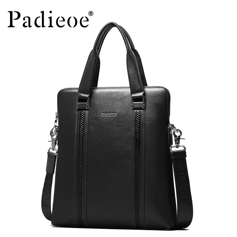 Padieoe 2017 High Quality Briefcase Genuine Cow Leather Messenger Bag New Fashion Business Tote Bag For Male Luxury Brand Bags