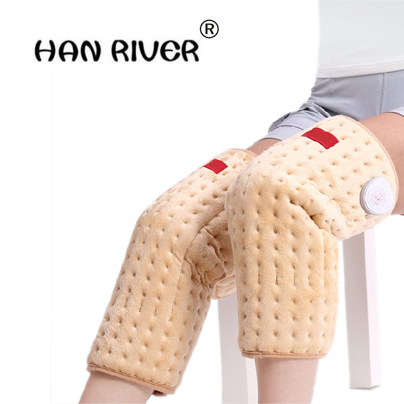Health Care 1 Pair Electric Heating Knee Pads moxibustion Hot compress Therapy Arthritis Rheumatism 220V 100W Adjustable Tempera hanriver health care electric heating knee and leg pads electrical heating therapy knee arthritis rheumatism ease the pain