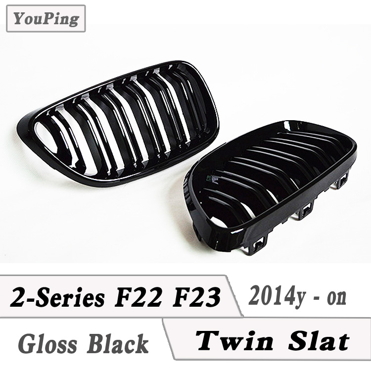 2-Series Coupe & Cabrio F22 Matte Black Twin Slat Grilles F23 Gloss Black High Quality Double Slats Kidney Grilles, 2014-2017y