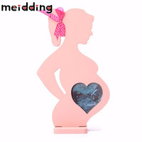 MEIDDING 1Pcs Sweet Wooden Pregnant Women Shape Photo Frame NewBorn Swing Sets Baby Shower Birthday Party