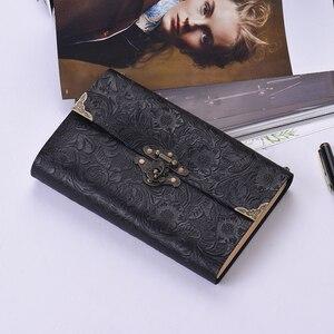 Image 3 - Aibecy اليدوية تنقش نمط لينة دفتر يوميات من الجلد مع قفل ومفتاح مذكرات المفكرة كرافت ورقة للأعمال المسافر