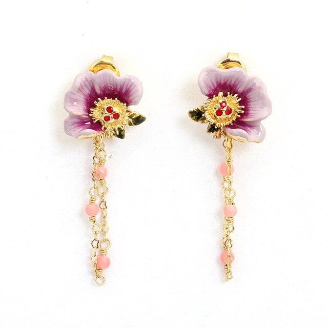 France Les Nereides Trendy Enamel Glaze Jewelry New Purple Peony Flowers Green Leaf Powder Bead Fringed Earrings For Women