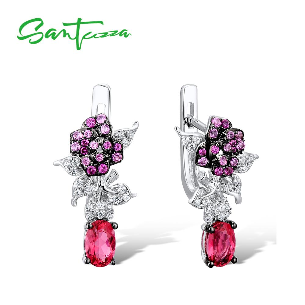 SANTUZZA Silver Earrings For Women Authentic 100% 925 Sterling Silver Delicate Flower Sparkling Pink Stones Chic Fashion Jewelry pair of delicate heart faux pink crystal earrings for women