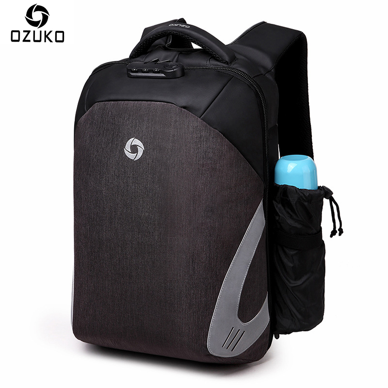 OZUKO New Fashion Anti-theft Backpacks External USB Charge 15.6inch Laptop Backpacks For Teenager School Bag Male Travel Mochila