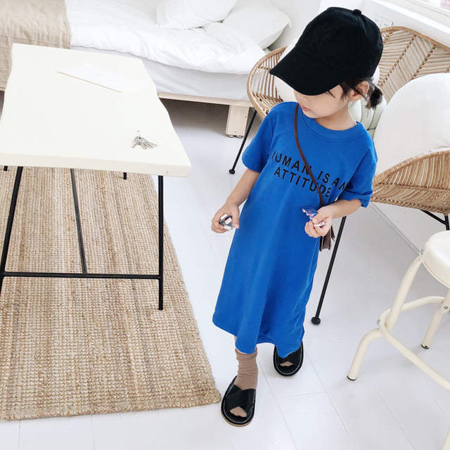 8ea3fdf59 Online Shop Korean style baby girls letters printed long T shirt ...