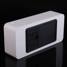 Modern Rectangle Wooden Digital White LED Light Alarm Clock with Calendar desplay has acoustic control sensing
