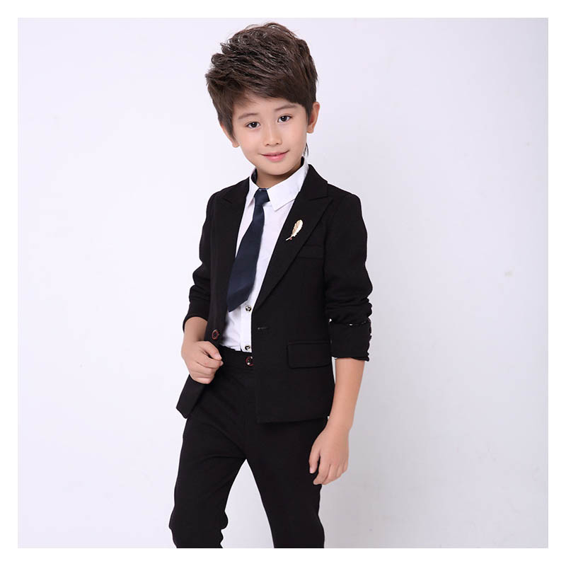 New kids blazer for boys suit baby boy 2PCS Black suits for boy tuxedo children party costume wedding clothes suit (jacket+Pants 5pcs winter kids boys suits blazers thicker warm plus children suit boy blue plaid blazer party clothes wedding suits for boys